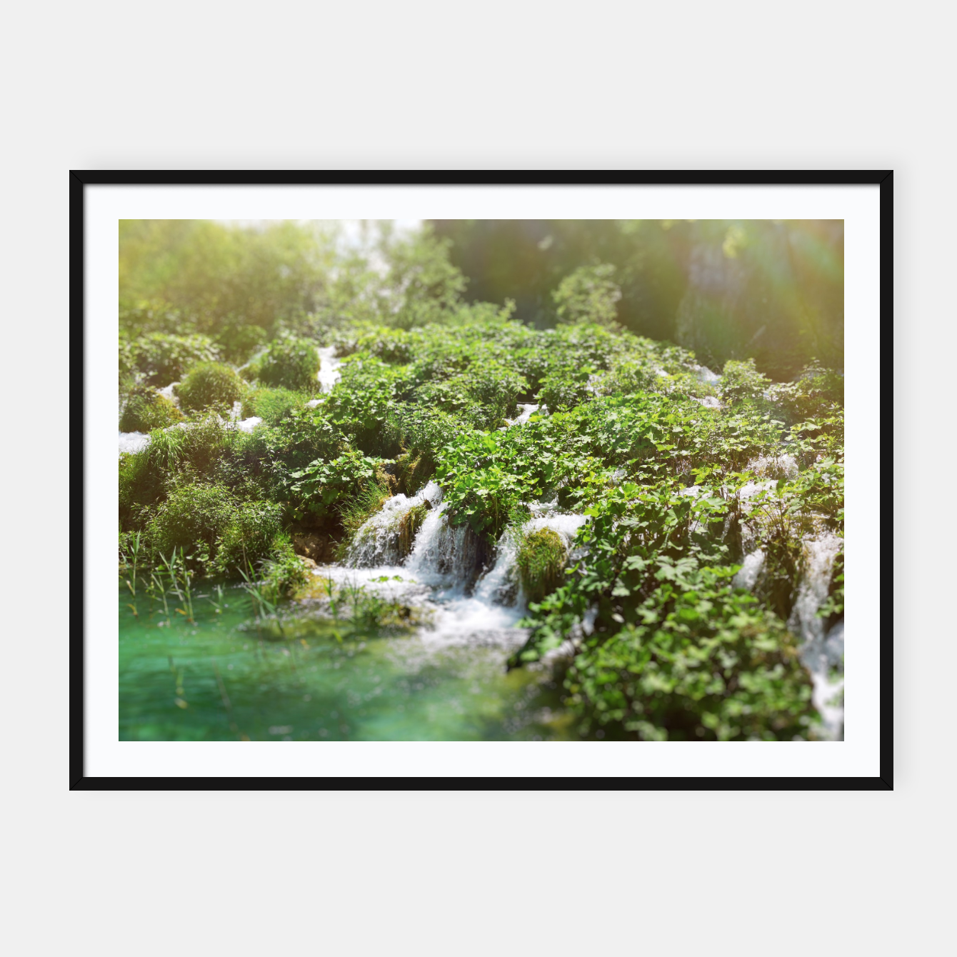 Image of cascades at plitvice lakes national park croatia sunrays Framed poster - Live Heroes