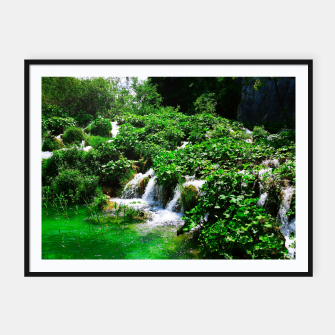 Thumbnail image of cascades at plitvice lakes national park croatia vibrant Framed poster, Live Heroes