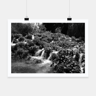 Thumbnail image of cascades at plitvice lakes national park croatia bw Poster, Live Heroes