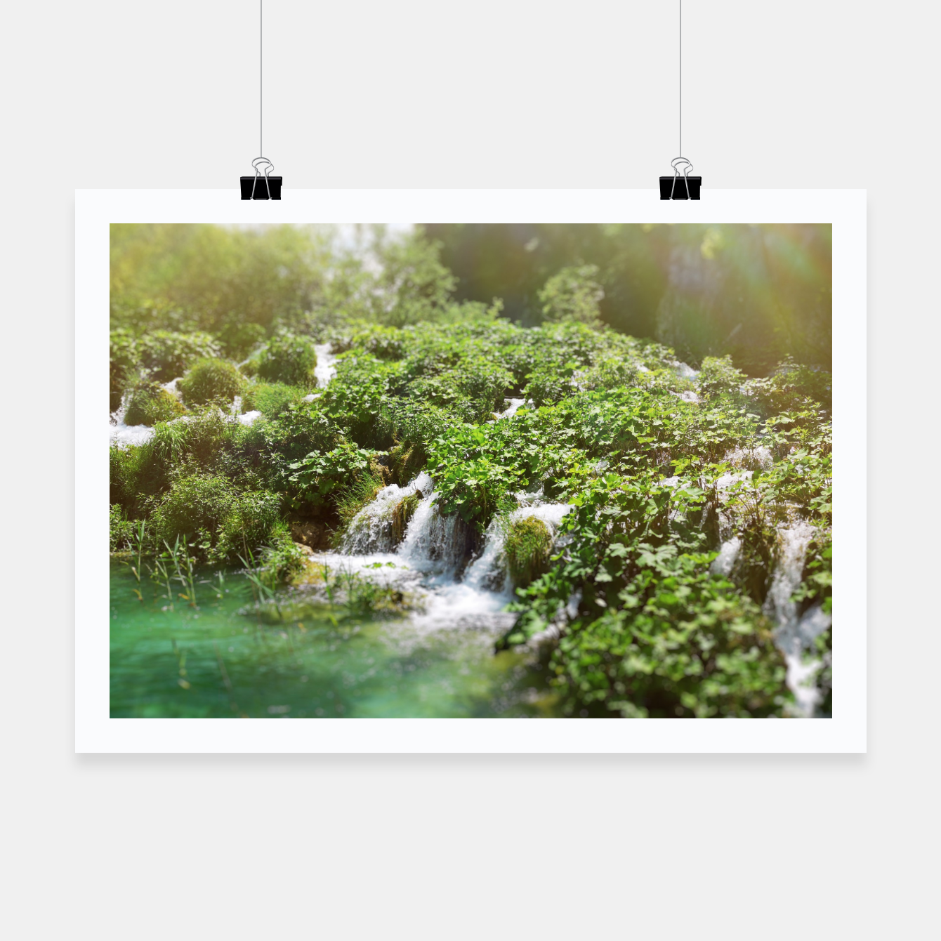 Image of cascades at plitvice lakes national park croatia sunrays Poster - Live Heroes