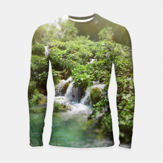 Thumbnail image of cascades at plitvice lakes national park croatia sunrays Longsleeve rashguard , Live Heroes