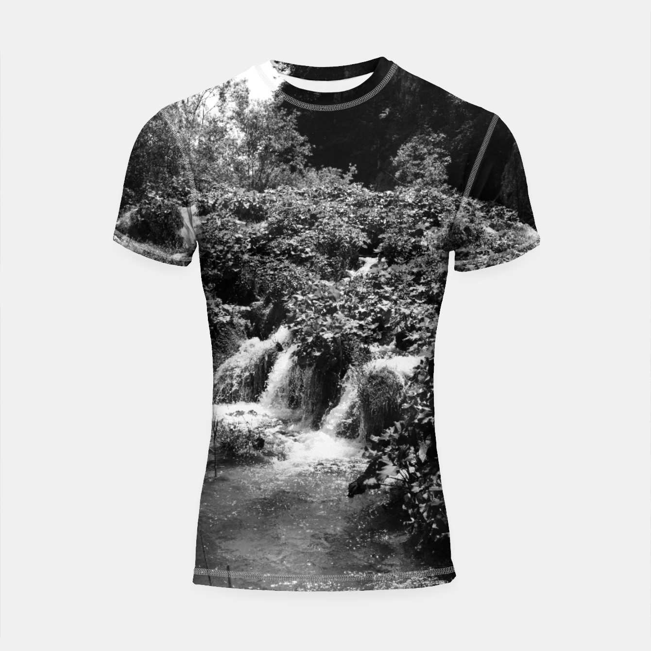 Image of cascades at plitvice lakes national park croatia bw Shortsleeve rashguard - Live Heroes