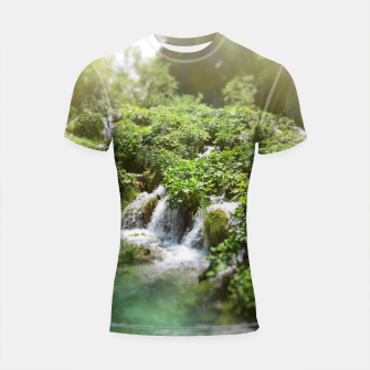 Thumbnail image of cascades at plitvice lakes national park croatia sunrays Shortsleeve rashguard, Live Heroes