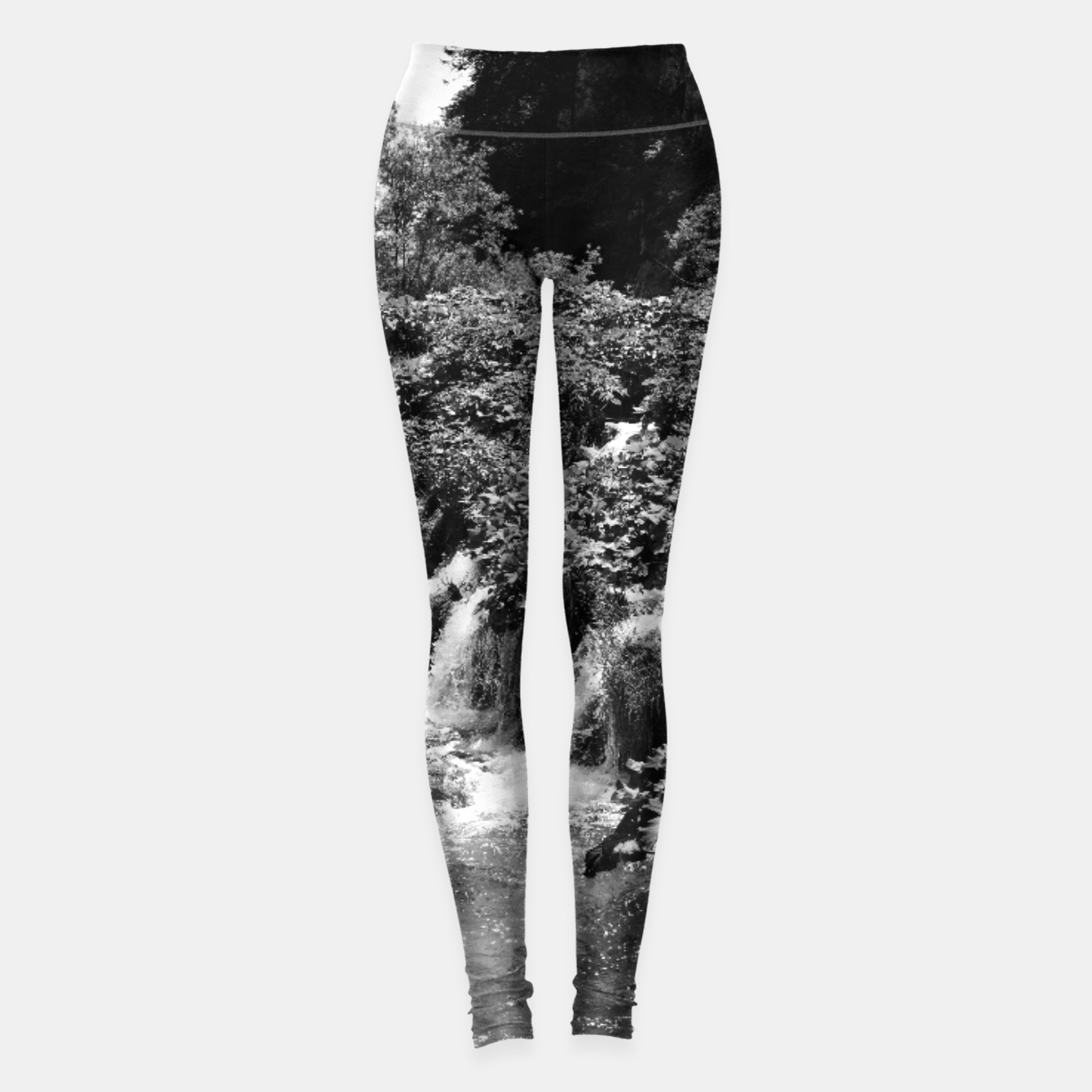 Image of cascades at plitvice lakes national park croatia bw Leggings - Live Heroes
