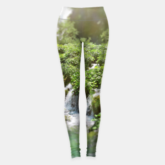 Thumbnail image of cascades at plitvice lakes national park croatia sunrays Leggings, Live Heroes