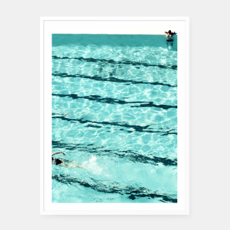 Thumbnail image of Swimmers and the pool Framed poster, Live Heroes