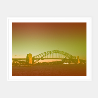 Thumbnail image of Bridge and the sunset Framed poster, Live Heroes