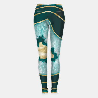 Miniaturka Moon Stone Agate Gold Foil Glam #1 #gem #decor #art Leggings, Live Heroes