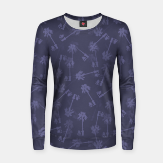Indigo blue Small palms pattern Women sweater thumbnail image