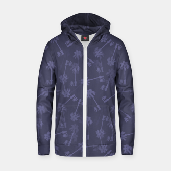 Indigo blue Small palms pattern Zip up hoodie thumbnail image