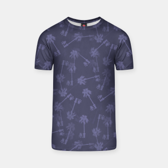 Indigo blue Small palms pattern T-shirt thumbnail image