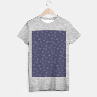 Indigo blue Small palms pattern T-shirt regular thumbnail image