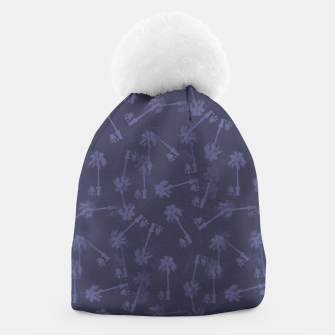 Indigo blue Small palms pattern Beanie thumbnail image