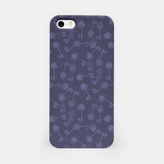Indigo blue Small palms pattern iPhone Case thumbnail image