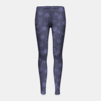 Indigo blue Small palms pattern Girl's leggings thumbnail image