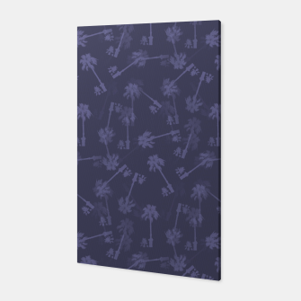Indigo blue Small palms pattern Canvas thumbnail image