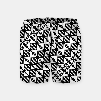 Miniatur Black and White Tribal Swim Shorts, Live Heroes