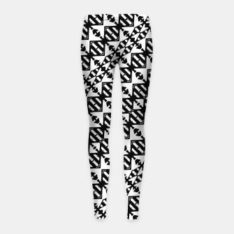 Miniatur Black and White Tribal Girl's leggings, Live Heroes