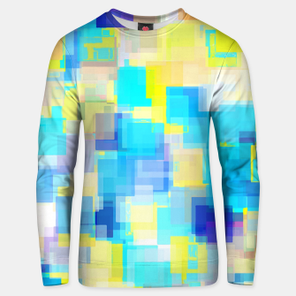 geometric square pattern abstract background in yellow and blue Unisex sweater thumbnail image