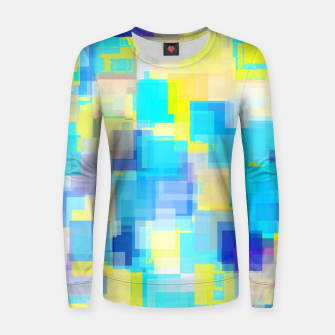 geometric square pattern abstract background in yellow and blue Women sweater thumbnail image