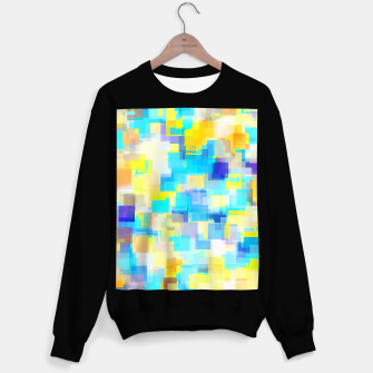 Thumbnail image of geometric square pattern abstract background in yellow and blue Sweater regular, Live Heroes