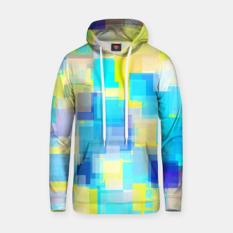 Thumbnail image of geometric square pattern abstract background in yellow and blue Hoodie, Live Heroes