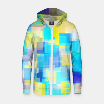 Thumbnail image of geometric square pattern abstract background in yellow and blue Zip up hoodie, Live Heroes