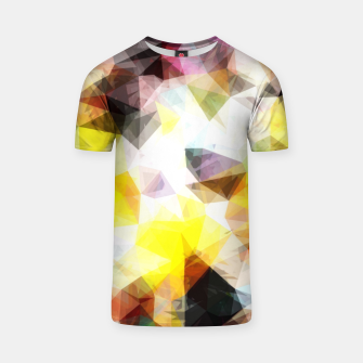 Thumbnail image of geometric triangle pattern abstract background in yellow brown pink T-shirt, Live Heroes