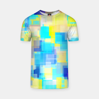 Thumbnail image of geometric square pattern abstract background in yellow and blue T-shirt, Live Heroes