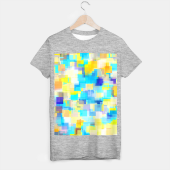 Thumbnail image of geometric square pattern abstract background in yellow and blue T-shirt regular, Live Heroes