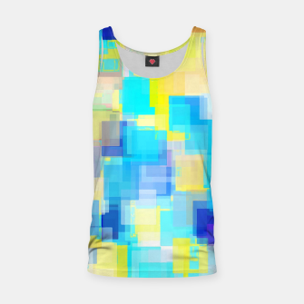 Thumbnail image of geometric square pattern abstract background in yellow and blue Tank Top, Live Heroes