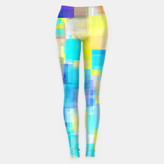 Thumbnail image of geometric square pattern abstract background in yellow and blue Leggings, Live Heroes