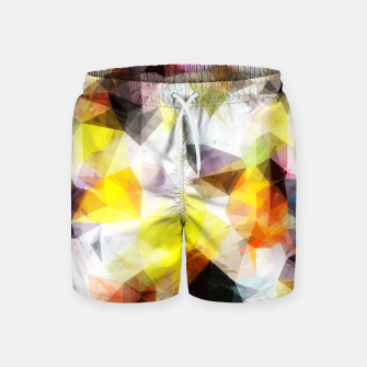 Thumbnail image of geometric triangle pattern abstract background in yellow brown pink Swim Shorts, Live Heroes