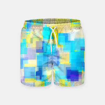 Thumbnail image of geometric square pattern abstract background in yellow and blue Swim Shorts, Live Heroes