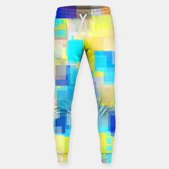 Thumbnail image of geometric square pattern abstract background in yellow and blue Sweatpants, Live Heroes