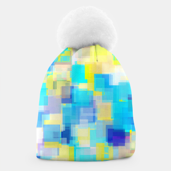 Thumbnail image of geometric square pattern abstract background in yellow and blue Beanie, Live Heroes