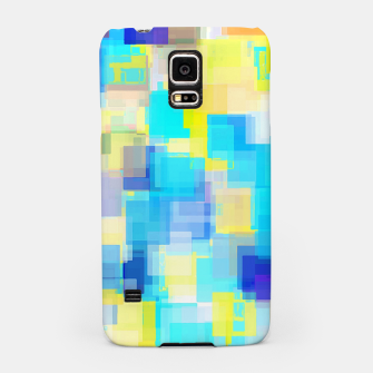Thumbnail image of geometric square pattern abstract background in yellow and blue Samsung Case, Live Heroes
