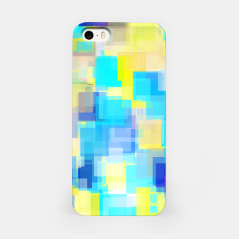 Thumbnail image of geometric square pattern abstract background in yellow and blue iPhone Case, Live Heroes