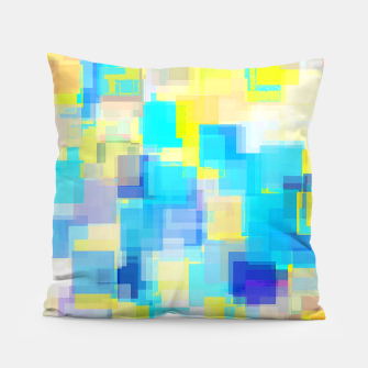 Thumbnail image of geometric square pattern abstract background in yellow and blue Pillow, Live Heroes