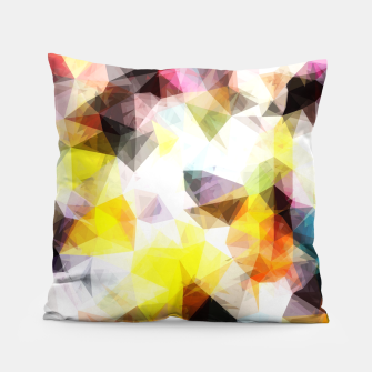 Thumbnail image of geometric triangle pattern abstract background in yellow brown pink Pillow, Live Heroes