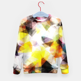 Thumbnail image of geometric triangle pattern abstract background in yellow brown pink Kid's sweater, Live Heroes