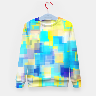 Thumbnail image of geometric square pattern abstract background in yellow and blue Kid's sweater, Live Heroes