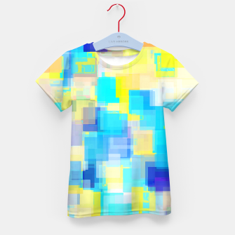 Thumbnail image of geometric square pattern abstract background in yellow and blue Kid's t-shirt, Live Heroes