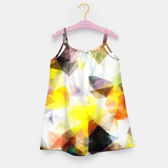 Thumbnail image of geometric triangle pattern abstract background in yellow brown pink Girl's dress, Live Heroes