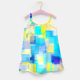 Thumbnail image of geometric square pattern abstract background in yellow and blue Girl's dress, Live Heroes