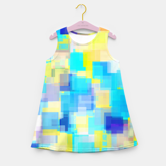 Thumbnail image of geometric square pattern abstract background in yellow and blue Girl's summer dress, Live Heroes