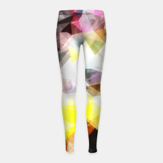 Thumbnail image of geometric triangle pattern abstract background in yellow brown pink Girl's leggings, Live Heroes