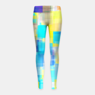 Thumbnail image of geometric square pattern abstract background in yellow and blue Girl's leggings, Live Heroes