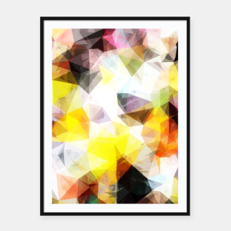 Thumbnail image of geometric triangle pattern abstract background in yellow brown pink Framed poster, Live Heroes