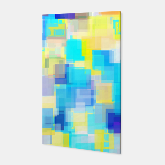 Thumbnail image of geometric square pattern abstract background in yellow and blue Canvas, Live Heroes